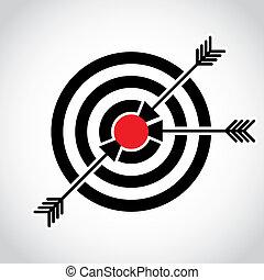 フィールド, ターゲット, 矢, 赤, イラスト