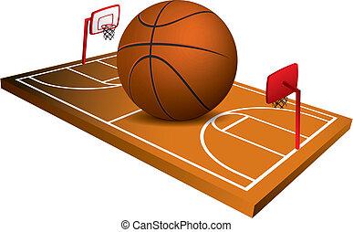 フィールド, ベクトル, バスケットボール, 3d