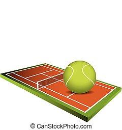 フィールド, ベクトル, 3d, テニス