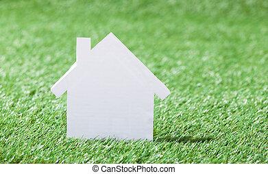 フィールド, モデル, 草が茂った, 家