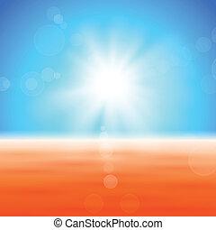 フィールド, 上に, 光沢がある, 背景, 太陽