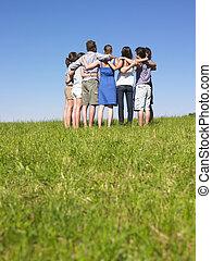 フィールド, 人垣の輪, グループ, 人々