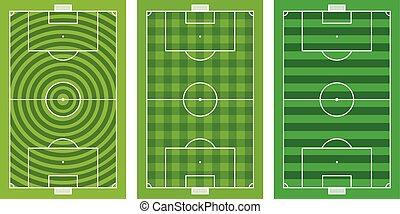 フィールド, 別, フットボール, 緑, コレクション