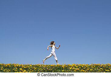 フィールド, 動くこと, 幸せ, 女の子, タンポポ