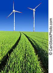 フィールド, 小麦, タービン, 風