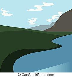 フィールド, 川, 自然, 風景, 山