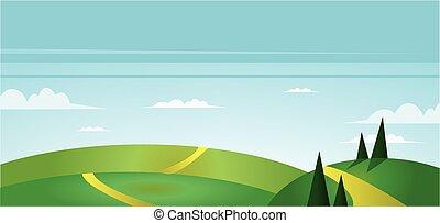 フィールド, 抽象的, 緑の風景
