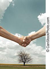 フィールド, 握手, 木, 農夫