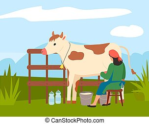 フィールド, 景色。, 田舎, 牛, 女, 農夫, 搾り出すこと, milkmaid, 自然, 仕事