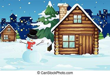 フィールド, 木, 雪, キャビン