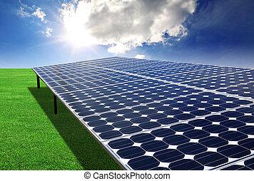 フィールド, 緑, 太陽 パネル