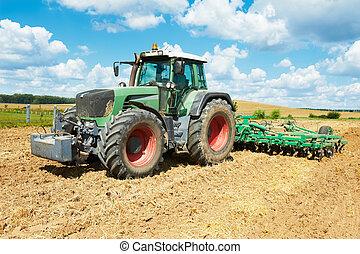 フィールド, 耕作, 仕事, トラクター, ploughing