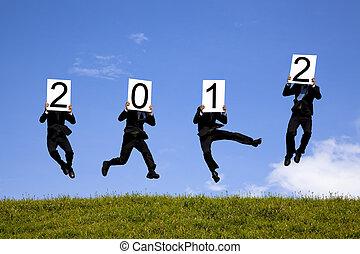 フィールド, 跳躍, 緑, 保有物, 広告板, ビジネスマン, 2012