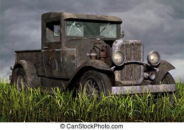 フィールド, 錆ついた, 草, 古いトラック