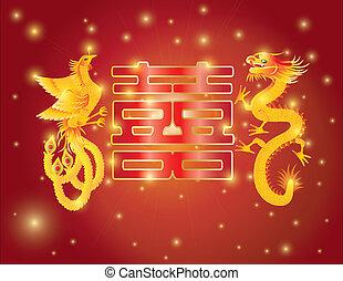 フェニックス, ダブル, ドラゴン, 幸福, 背景, 赤