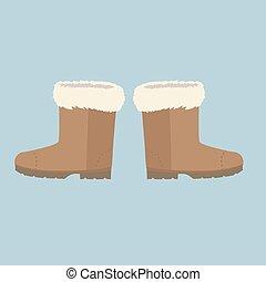 フェルト, 冬, ブーツ, 靴