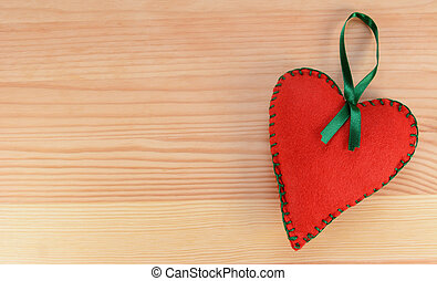 フェルト, 心の形をしている, リボン, 緑, 装飾