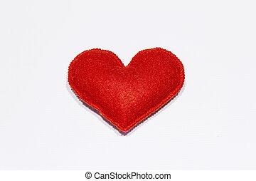 フェルト, 白, 心, バレンタイン, 赤, 日, バックグラウンド。, 結婚式, 概念, ロマンチック, ∥あるいは∥, 隔離された