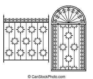 フェンス, グリル, ドア, 窓, デザイン, 鉄, 手すり, 細工された, 門