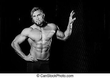 フェンス, 写真, 若い, 筋肉, 黒, 白, grid., 人