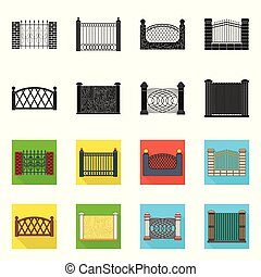 フェンス, 壁, シンボル, web., シンボル。, コレクション, ベクトル, デザイン, 門, 株