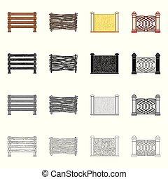フェンス, 壁, 印。, web., イラスト, ベクトル, コレクション, 門, シンボル, 株