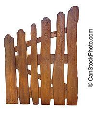 フェンス, 木製である, 上に, 牧場, 隔離された, 白