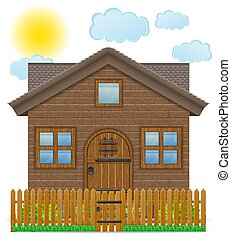 フェンス, 木製である, 国, イラスト, ベクトル, 家, 小さい