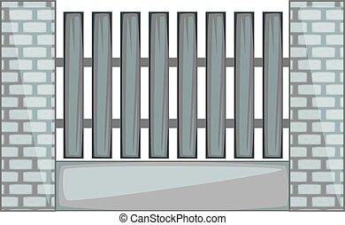 フェンス, 木製である, 柱, モノクローム, れんが, アイコン