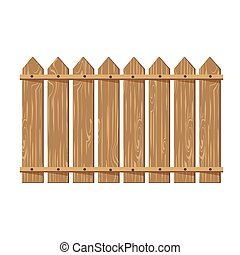 フェンス, 木製である, 隔離された, イラスト, バックグラウンド。, ベクトル, 白