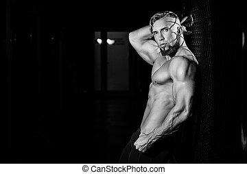 フェンス, 筋肉, 人, 若い, 白, grid., 黒, 写真