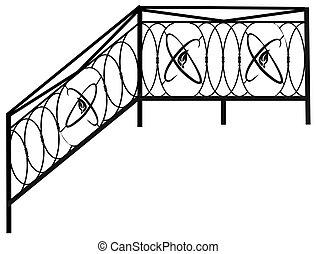 フェンス, 項目, 手すり, grates., プロダクト, 偽造された, 内部, 家, 風景, design.