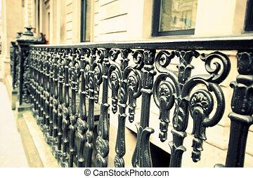 フェンス, 黒, の上, 金属, 古い, 終わり, 美しい