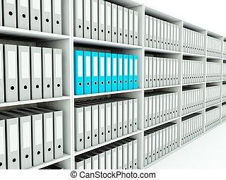フォルダー, シリーズ, 青, shelf., 灰色