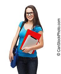 フォルダー, タブレットの pc, 学生, 微笑, 袋