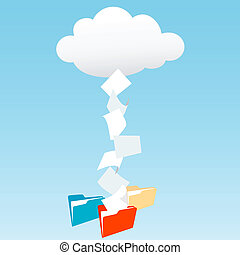 フォルダー, データ, 雲, ファイル, 計算