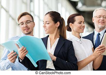 フォルダー, ミーティング, ビジネスオフィス, チーム