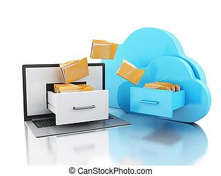 フォルダー, ラップトップ, 貯蔵, オンラインで, cloud., concept., 3d
