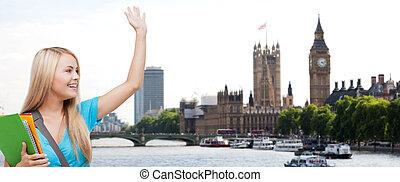 フォルダー, 都市, 上に, 手, 振ること, ロンドン, 学生