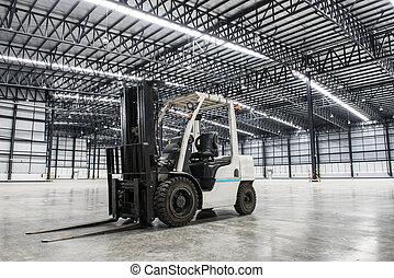 フォークリフト, 積込み機, 中に, 大きい, 現代, 倉庫
