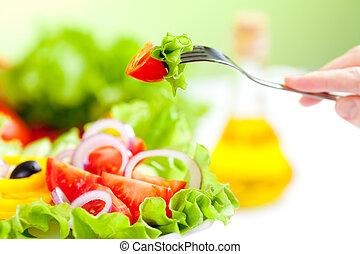 フォーク, サラダ, 健康に良い食物, 野菜, 新たに