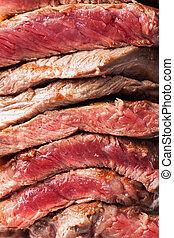 フォーク, ステーキ, 肉, に薄く切る