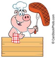 フォーク, ステーキ, 親指, 木製である, 上に, 特徴, の上, 印, シェフ, 料理された, bbq, 保有物, 豚, 漫画, 寄付, マスコット