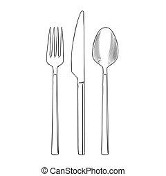 フォーク, スプーン, セット, cutlery, ナイフ