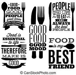 フォーク, セット, 食物, メニュー, t-shift, 印刷である, スプーン, 引用, 型, ナイフ, ∥あるいは...