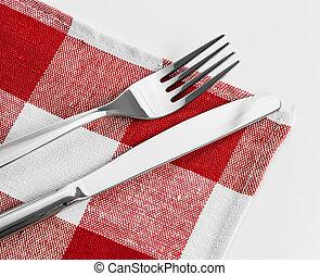 フォーク, テーブルクロス, チェックされた, 赤, ナイフ
