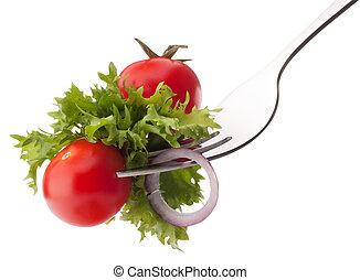 フォーク, トマト, 食べること, サラダ, 健康, さくらんぼ, concept., 隔離された, 背景, 新たに, 白, cutout.