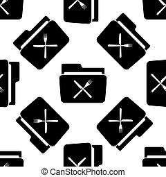 フォーク, パターン, 上に, 灰色, イラスト, seamless, バックグラウンド。, ベクトル, 交差させる, フォルダー, 白, ナイフアイコン