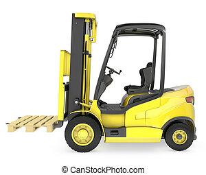 フォーク, パレット, リフト, 黄色, トラック