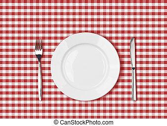 フォーク, プレート, ピクニック, 布, テーブル, 白, ナイフ, 赤